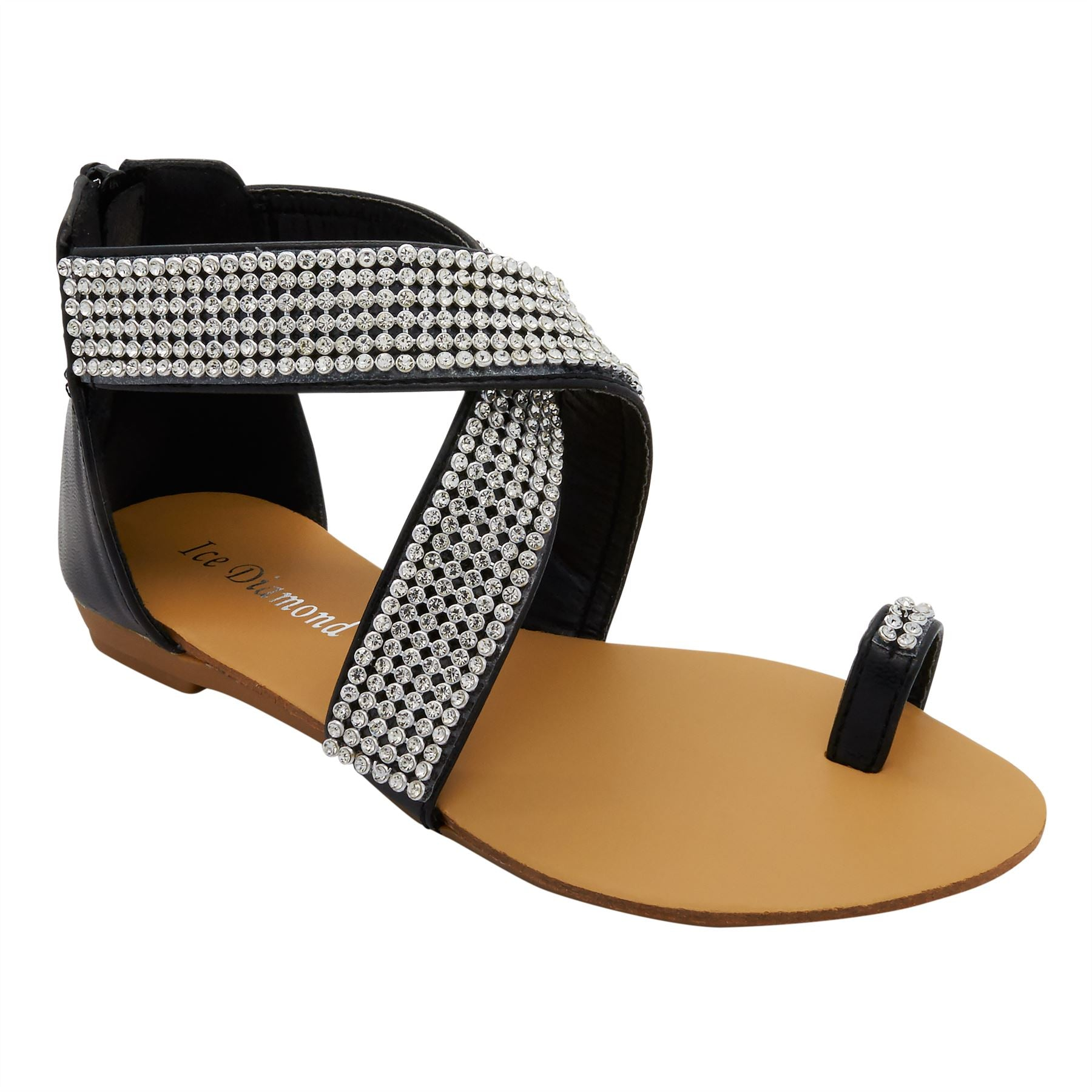 Black Diamante Cross Strap Flat Sandals
