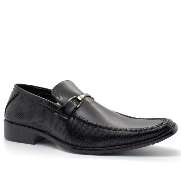 Black Buckle Slip On Shoes