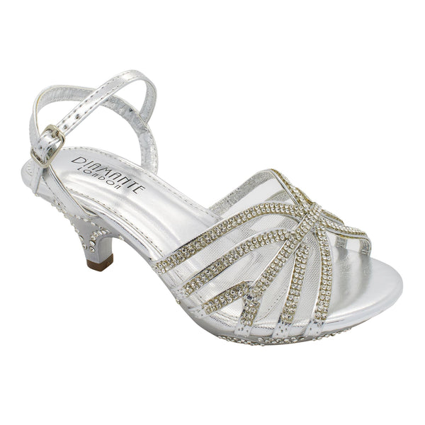 Silver Faceted Jewelled Kitten Heeled Sandals