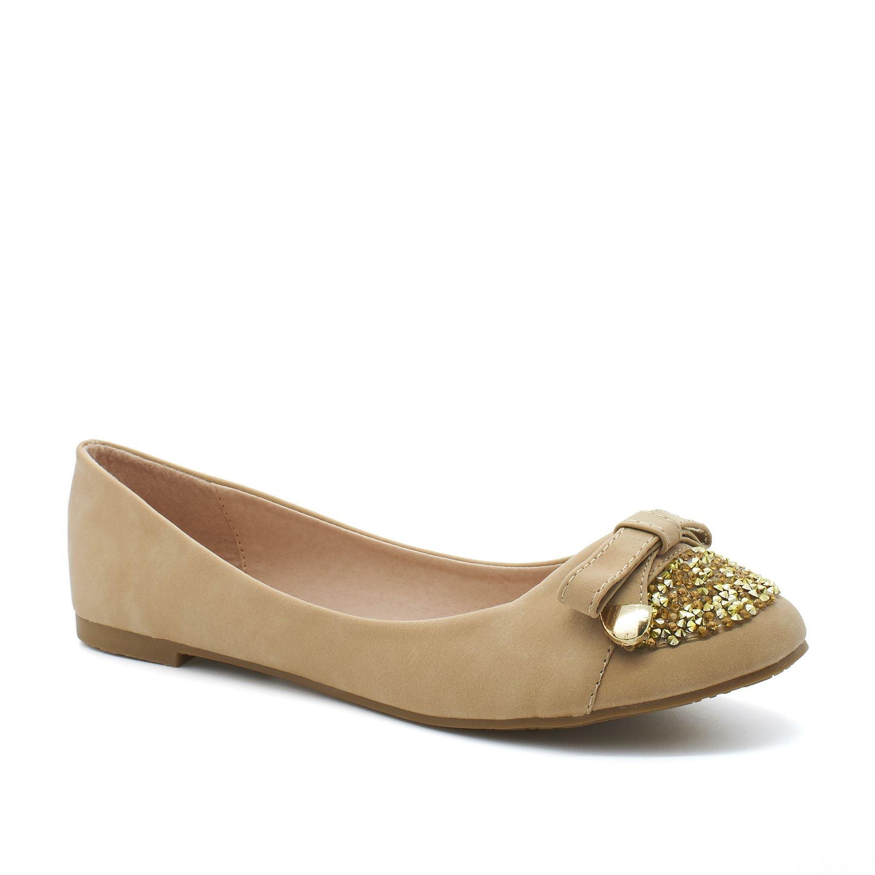 Beige Jewel Bow Slip On Ballerina
