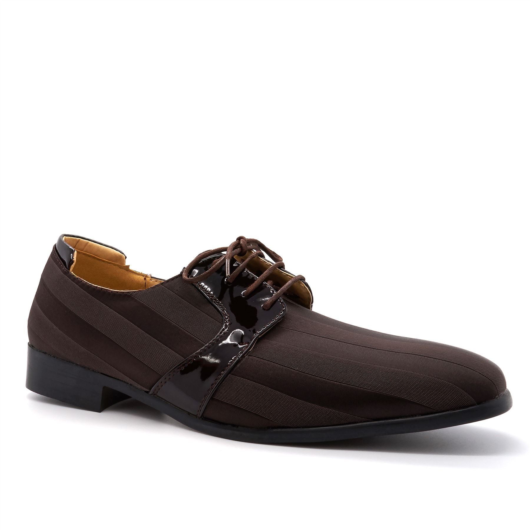 Brown Striped Lace Up Derby Shoes