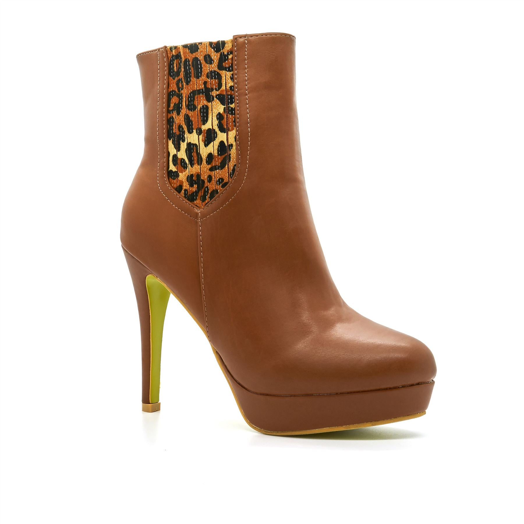 Brown Leopard Print Ankle Boots
