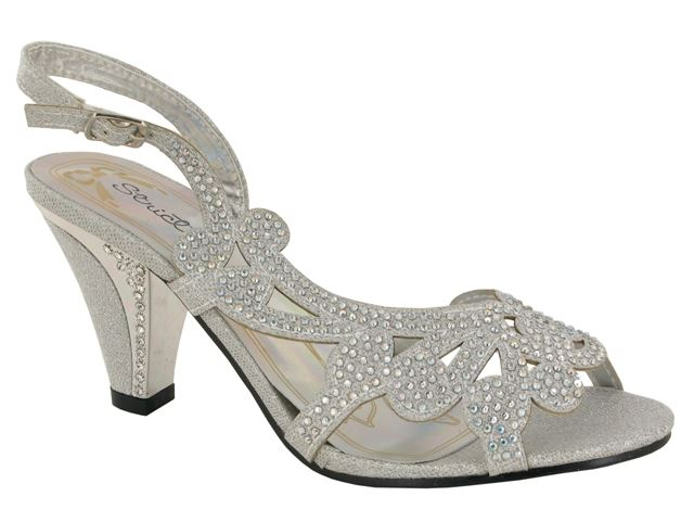 Silver Laser Cut Block Heeled Sandals