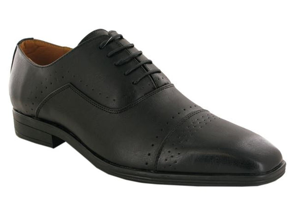 Black Brogue Detail Oxford Shoes