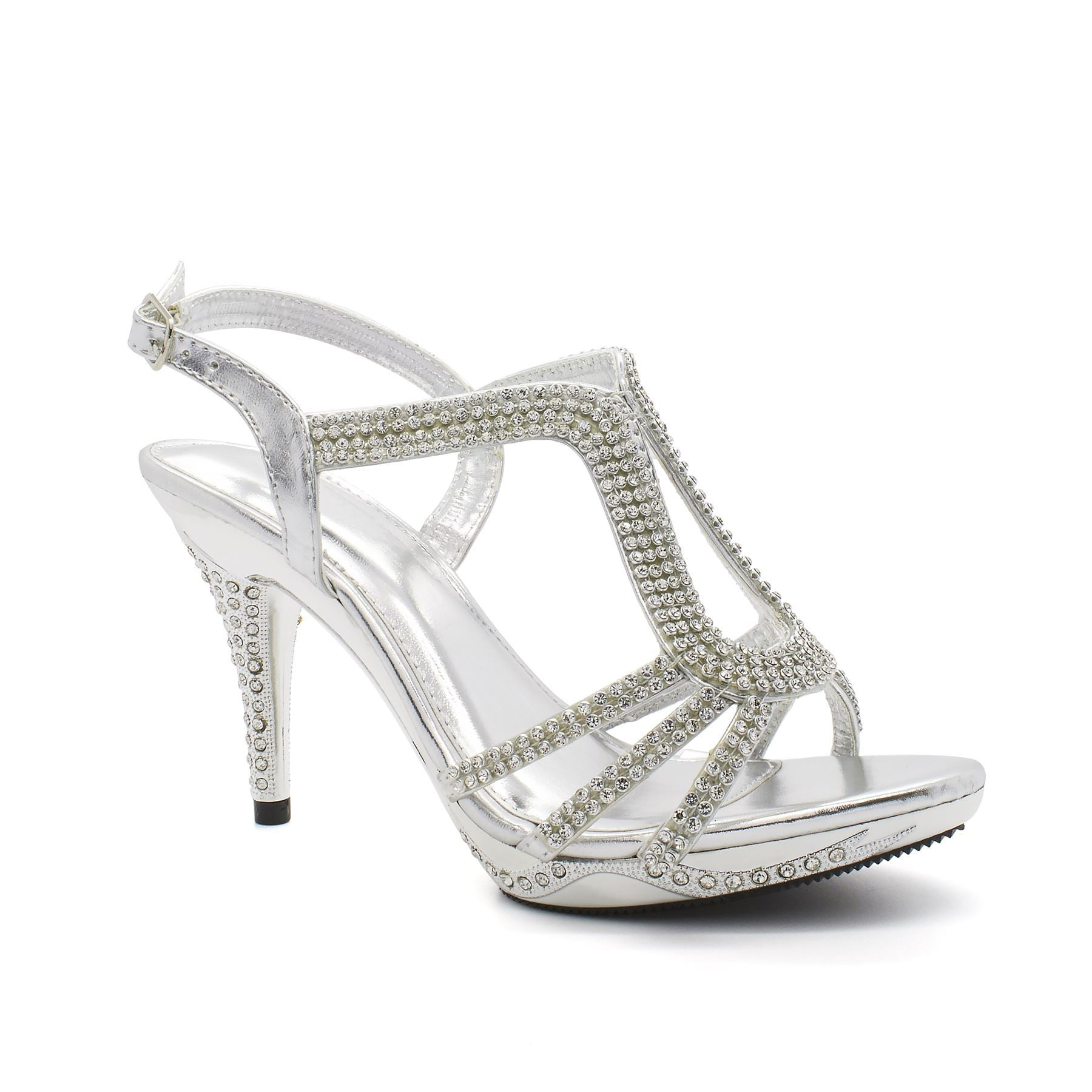 Silver Diamante Strap High Heel