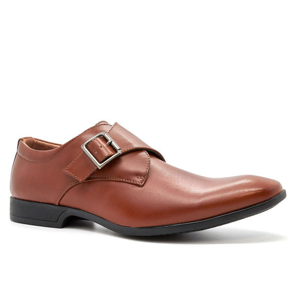 Brown Leather Look Derby Monk Shoes