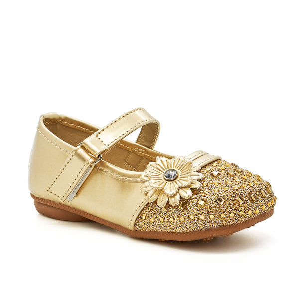Gold Flower Diamante Mary Janes