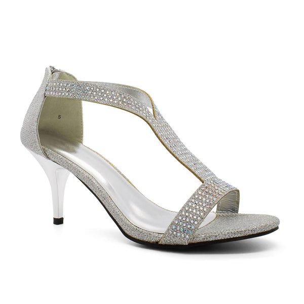 Silver Diamante T-Bar Heeled Sandals