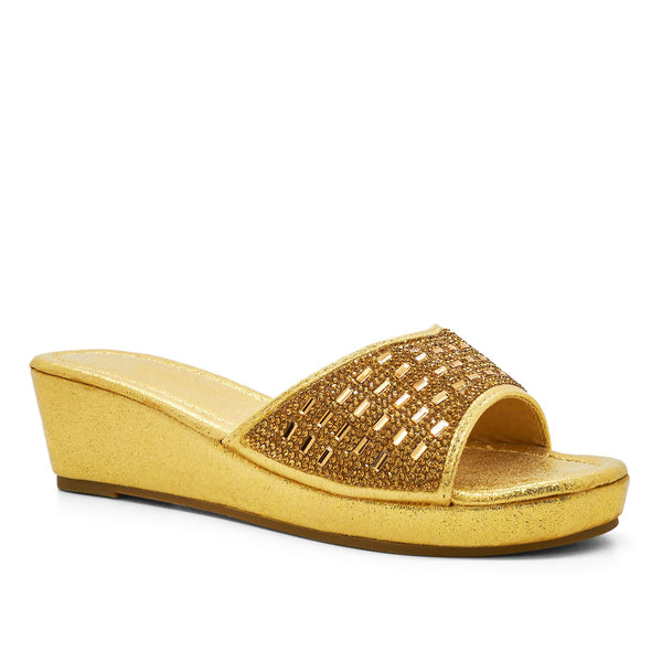 Gold Shimmer Diamante Wedge Mules