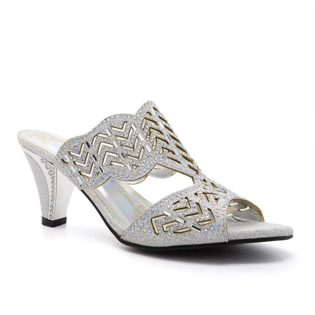 804abe076d9d Silver Embellished Heeled Mules. London Footwear. No reviews. SKU  103001.  Availability  1 in stock