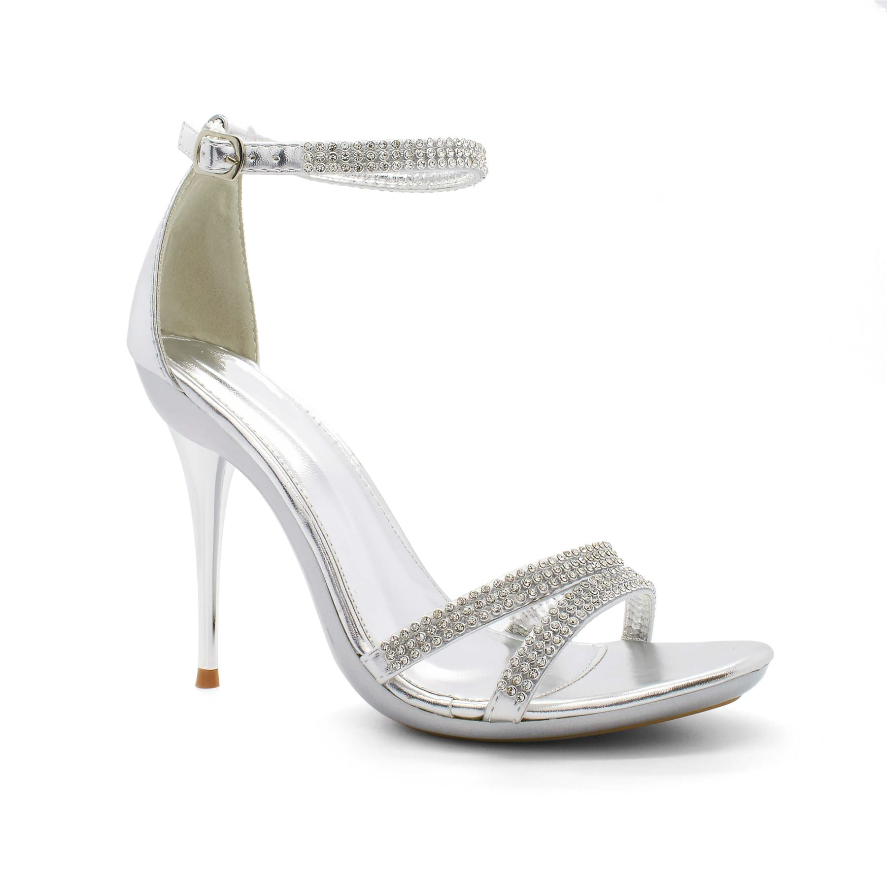 Silver Diamante Barely There Heels