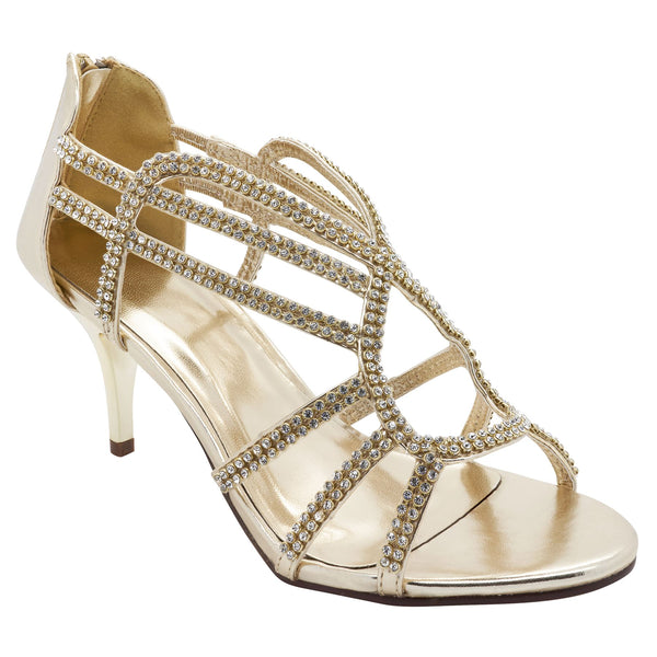 Gold Diamante Caged Heeled Sandals