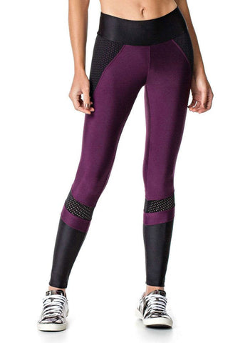 VESTEM Black Cire Shin Meshed Hips Fashion Crossfit Legging
