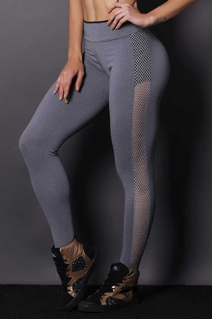 Basic Gray Sided Mesh Workout Leggings