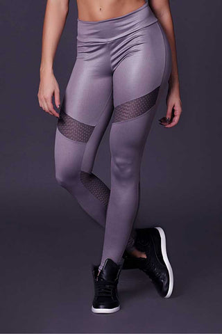 Gray Cirre Meshed Chains Gym Tights