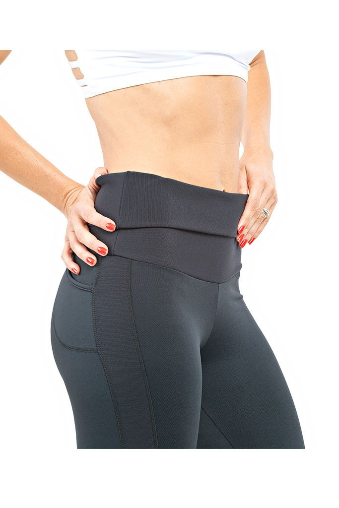 TRAILLINE Doubled Waistband Black Luna Running Tights