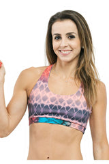 Trailline Neck Held Colourful Miami Bodybuilding Sports Bra