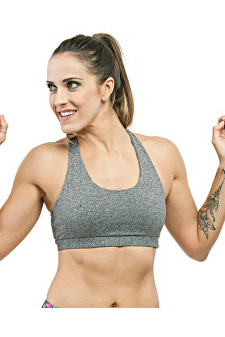 TRAILLINE Neck Held Gray Miami Bodybuilding Sports Bra