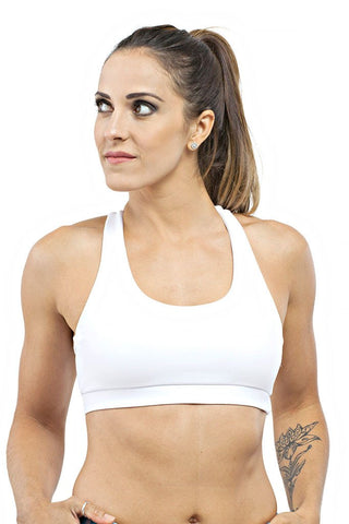 Trailline Neck Held White Miami Bodybuilding Sports Bra