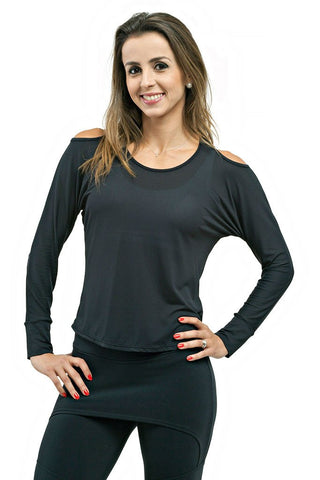 Trailline Paula Long Sleeve Back Opening Black Yoga Tee