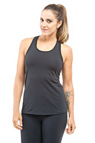 TRAILLINE Polly Black Back Detailed Workout Tank