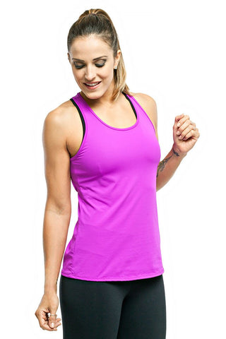 TRAILLINE Polly Fuchsia Back Detailed Workout Tank