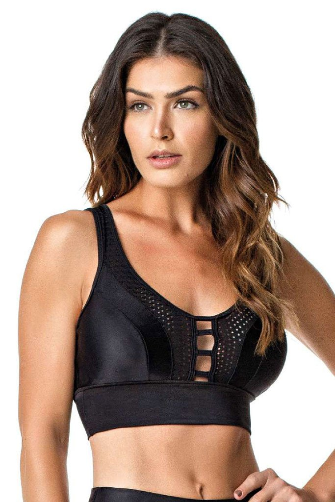 VESTEM Black Cire Breast Opened Sexy Workout Sports Bra