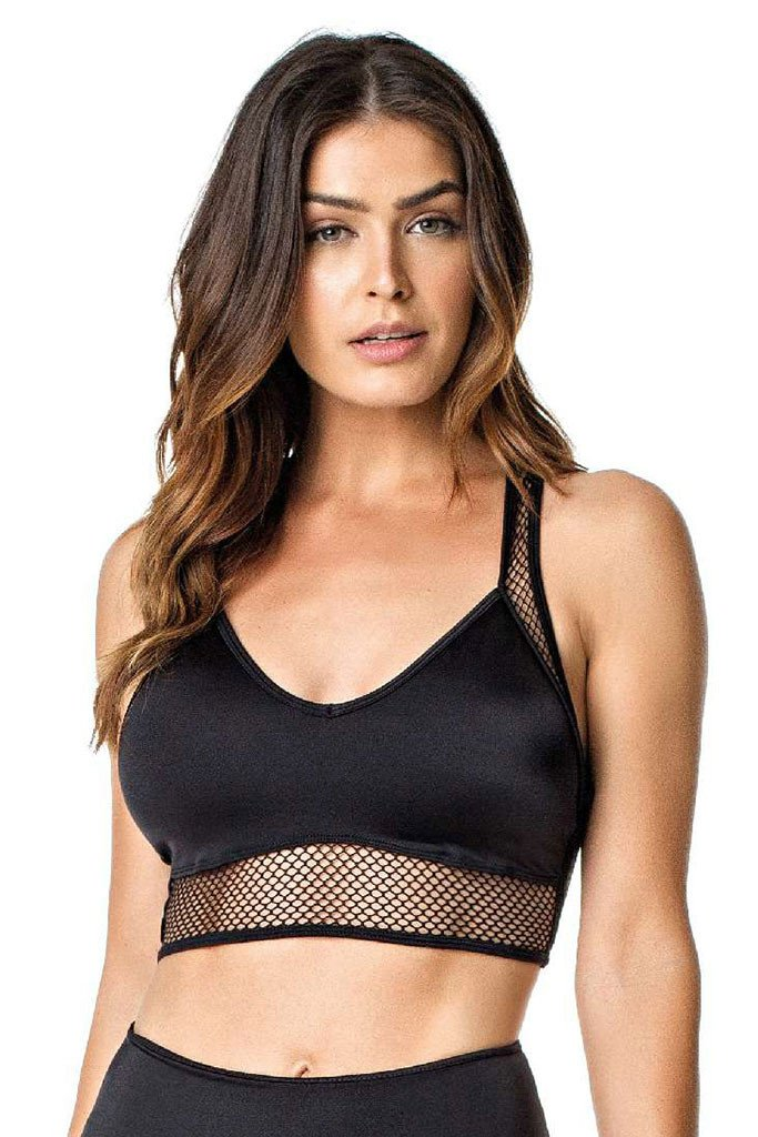 VESTEM Black Waist Mesh Cropped Workout Sports Bra