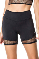 Vestem Full Black Meshed Thighs Workout Shorts