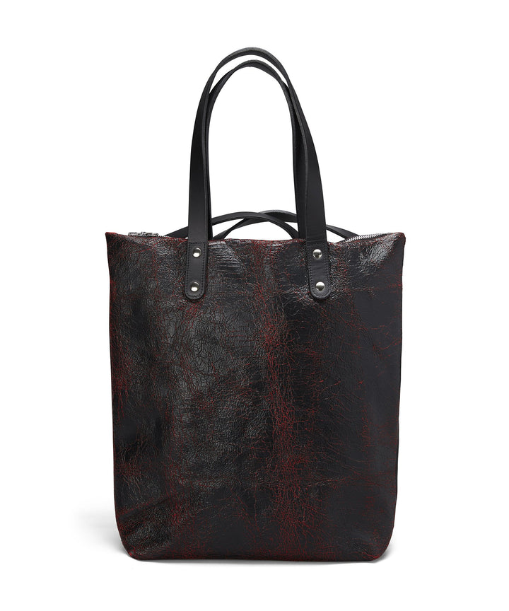 BLACK AND RED CRACKED LEATHER ROBYN BACKPACK - Poli & Jo
