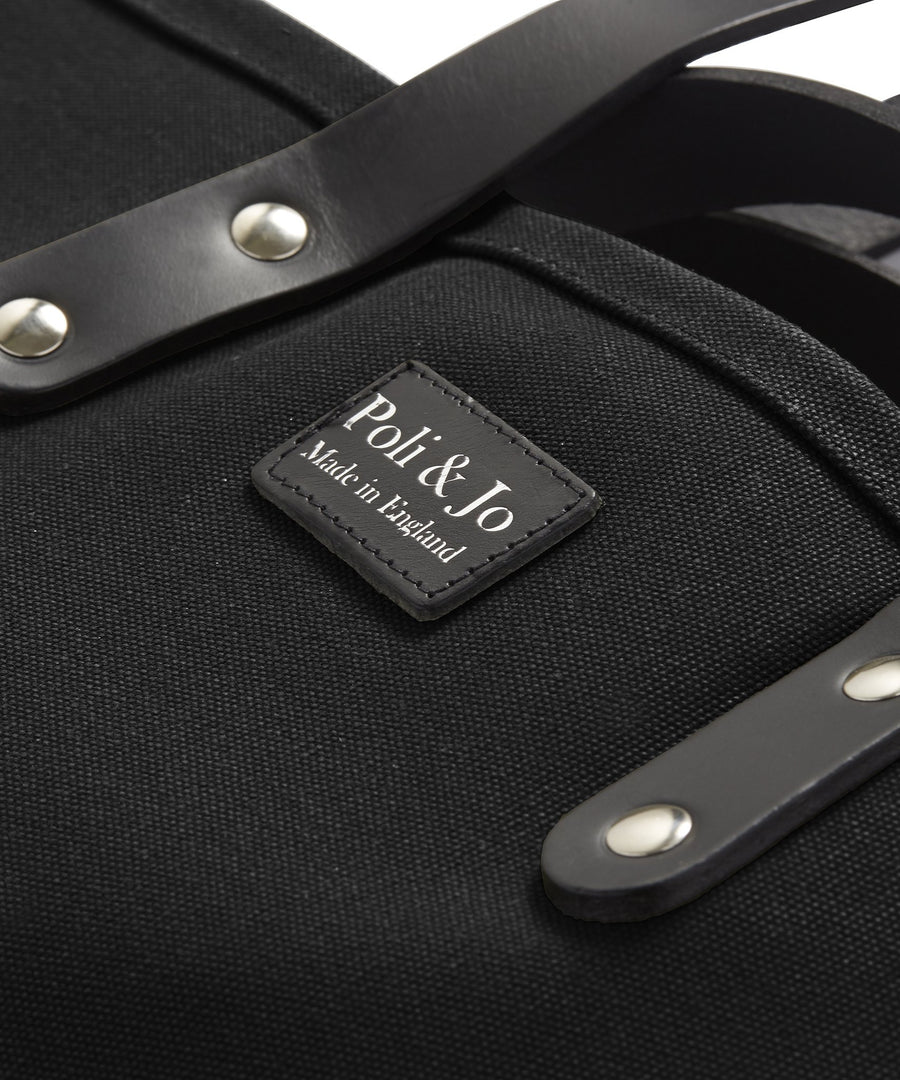 S1D2 MEDIUM BLACK CANVAS TOTE BAG - Poli & Jo