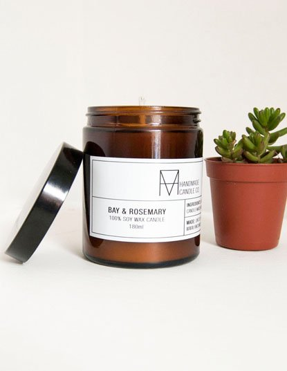 Soy Wax Candle - Bay and Rosemary