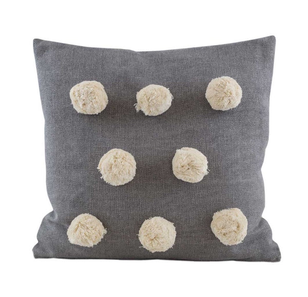 Pom Pom Cushion Grey