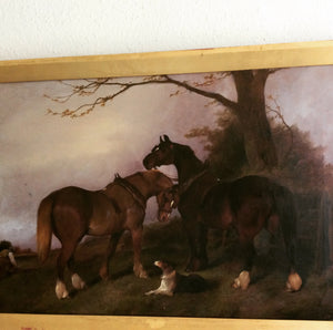 landscape horse dog painting antique George wright