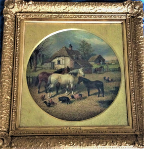 19th century landscape painting-horses,pigs,poultry j f herring jr