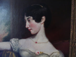 19th century  antique portrait of a lady George Henry Harlow