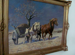 winter Landscape  with horses drawing a cart,by Wilhelm Westrop