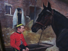 19th century landscape/portrait Bay horse with army officer,William Edward Millner