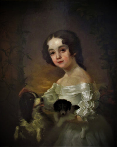 19th century Portrait of a girl & two dogs, After Sir William Beechey