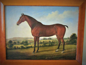 Horse in landscape circle George Stubbs 18th century oil, old master