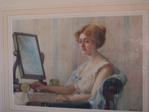 Edwardian portrait lady at her dressing table watercolour, Miss K* B* Curtis (ex.1917 -1919)