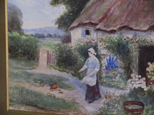 19th century Victorian landscape genre scene Surrey village Cottage