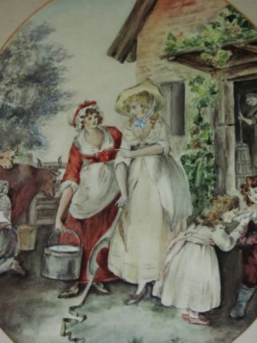 19th century milkmaids watercolour