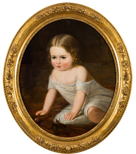 19th century portrait, child at play ,Attributed to Henry Tanworth Wells