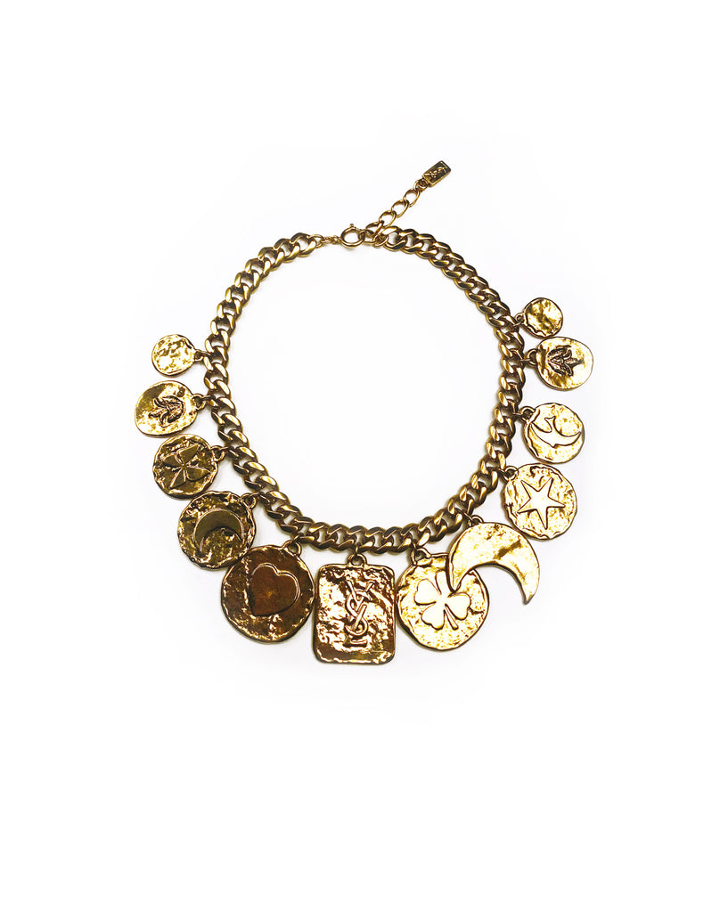 Yves Saint Laurent 1980s Gold Lucky Charm Necklace