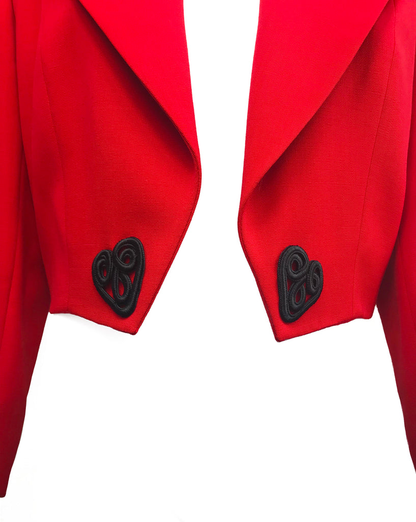 Celine Dead Stock 1980s Cropped Red Valentines Jacket