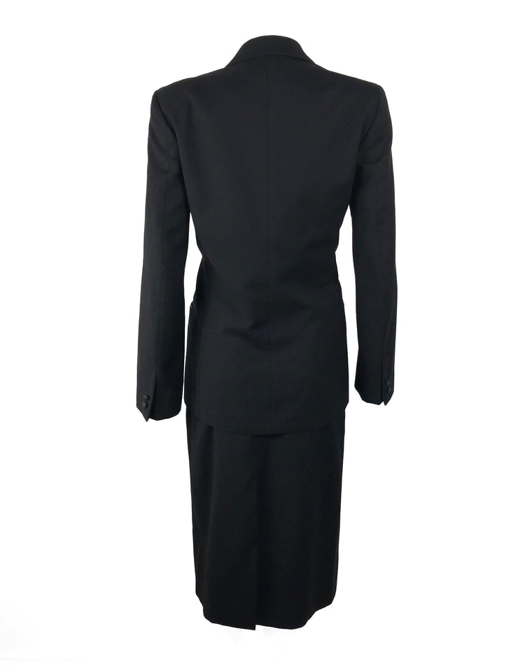 Gucci 1970s Black Smoking Two Piece Suit