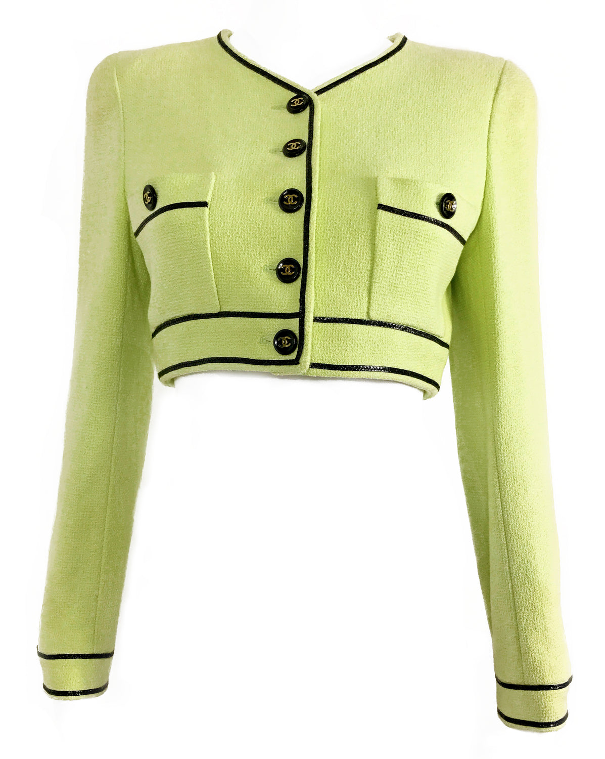 FRUIT Vintage Chanel Spring Summer 1995 Green Boucle Cropped Jacket Karl Lagerfeld Claudia Schiffer