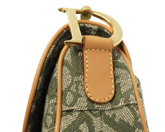 FRUIT vintage a classic Christian Dior by John Galliano khaki trotter/oblique logo monogram canvas saddle bag with tan leather trim.