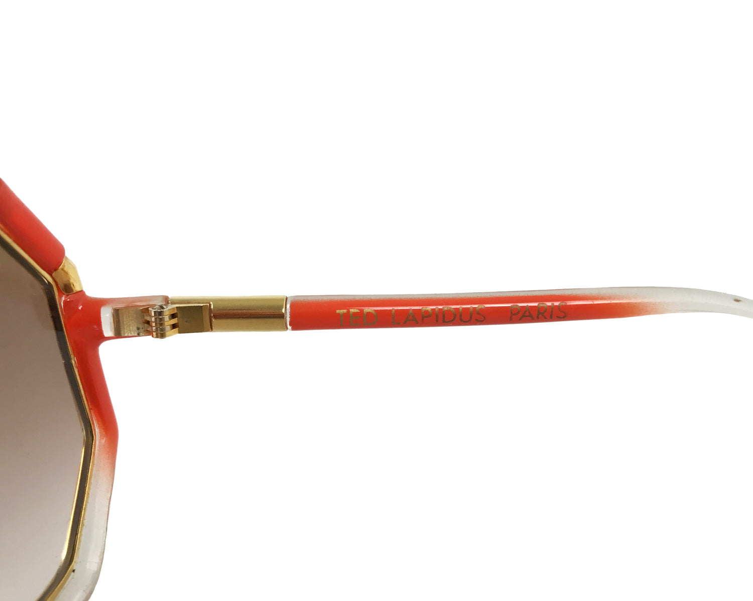 Ted Lapidus 1970s Orange Octagonal Frame Sunglasses